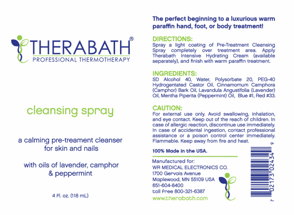 Therabath Pre-treatment Cleansing Spray Label